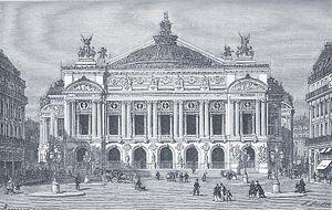 L'Opéra de Paris en 1875. Gravure extraite de Charles Nuitter, Le nouvel Opéra (Paris 1875)