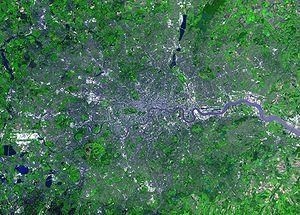 La ville de Londre a connu un ph�nom�ne d'�talement urbain particuli�rement important, qui explique l'empreinte �cologique �lev�e de cette conurbation
