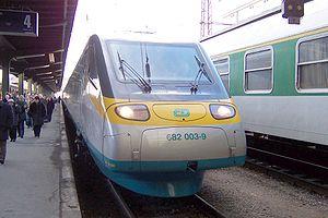 Rame ETR 460 des chemins de fer tchèques en gare de Masaryk à Prague