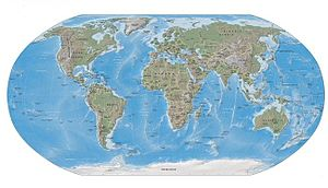 Carte physique de la Terre.