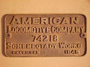 Plaque de constructeur American Locomotive Company.
