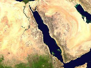 La mer Rouge vue par un satellite de la NASA.