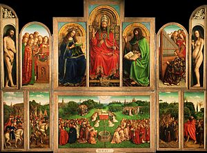 Gand: retable de l'Agneau mystique par Van Eyck.