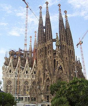 Temple expiatoire de la Sagrada Família, construction en cours depuis plus d'un siècle.