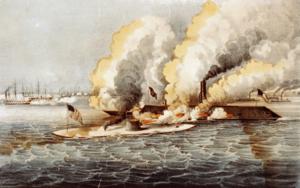 Combat rapproché entre les deux navires