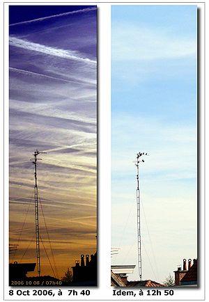 Traînées au soleil levant et évolution(Lille, 08 Octobre 2006)