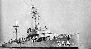 destroyer américain d'escorte USS Vammen lancé en 1944