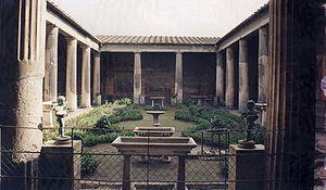 Péristyle de la villa des Vettii, Pompéi, Italie