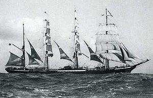 Photographie du quatre-mâts barque Pamir en 1905