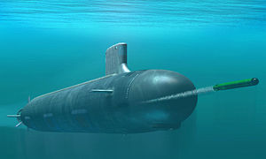 Vue d'artiste d'un sous-marin nucléaire d'attaque américain de classe Virginia, des années 2000.