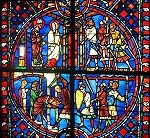Vitrail du XIIIe siècle en provenance de l'église de Soissons.