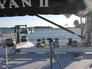 Winch à colonne sur un voilier à Lorient Kernevel