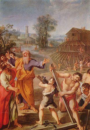 La construction de l'arche de Noé est représentée ici par un peintre français non identifié, vers 1675