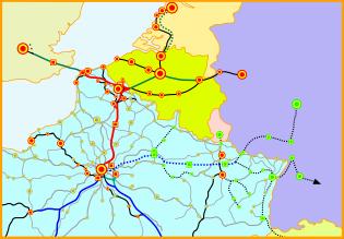 Tracé en rouge de la LGV Nord. En noir, les lignes classiques empruntées par les TGV.
