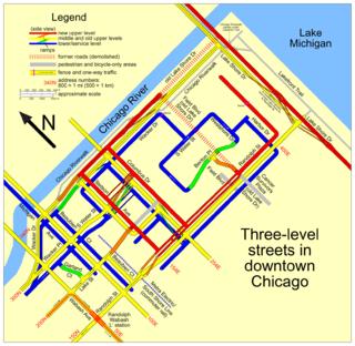 Plan des rues multi-niveaux du centre ville (downtown) de Chicago