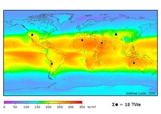 Répartion de l'énergie solaire reçue au sol