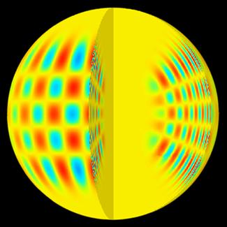 Une image réalisée grâce à un ordinateur montrant les motifs d'oscillation acoustique solaire en mode p à la fois à l'intérieur et à la surface du soleil. (l=20, m=16 et n=14.)
