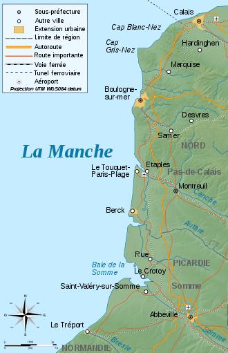 Carte de la Côte d'Opale