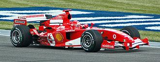 Michael Schumacher aux essais du Grand Prix des États-Unis 2005.