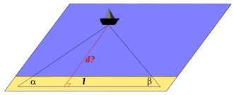 Fig. 1 — Détermination de la distance d'un navire par triangulation