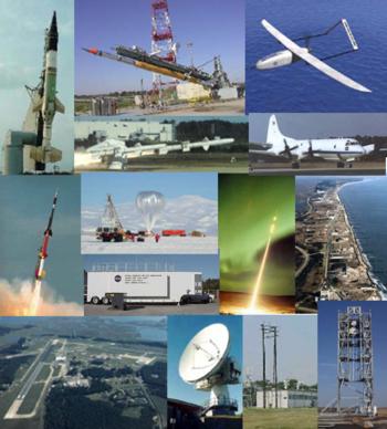 Lancement de petites fusées; Rechercge aéronautiques et sur les drones; Lancement de ballon; Mobile Range Van; Sounding Lancement de fusée dans une aurore boréale;Installations de Wallops Island; Research Airport & Main Base; Instrumentation de portée; Launch Pad Gantry.