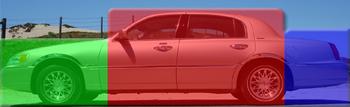 Les trois sections d'une berline quatre portes tricorps