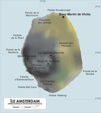 Carte de l'île Amsterdam