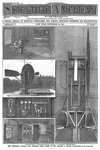 Article de Scientific American sur l'invention de Brush (1890).