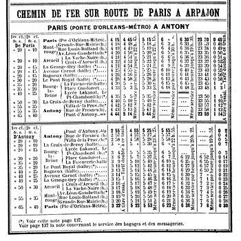 Horaires entre Paris et Antony (1914)