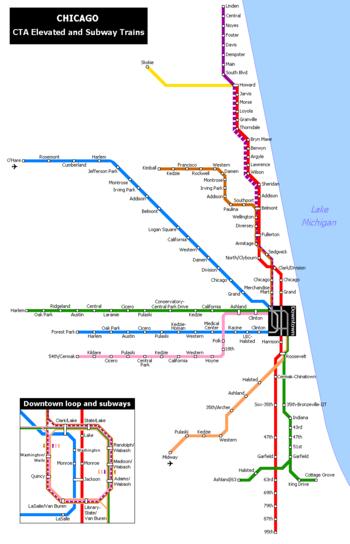 Réseau des lignes de Métro de Chicago