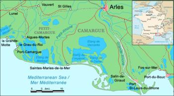 Carte géographique de la Camargue