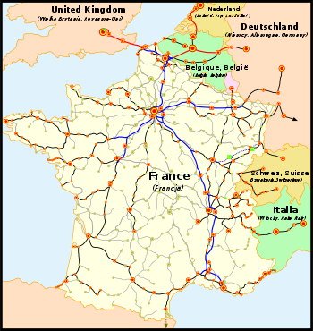 Le réseau TGV: • en bleu et rouge: lignes à grande vitesse  • en noir: lignes classiques parcourues par les TGV  • en pointillé: desserte à ouvrir d'ici 2009