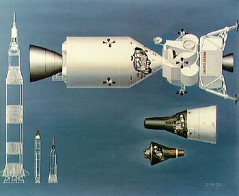 Le module de commande avec le module de service et le LEM en configuration de voyage vers la Lune, comparé aux précédentes capsules et fusées américaines