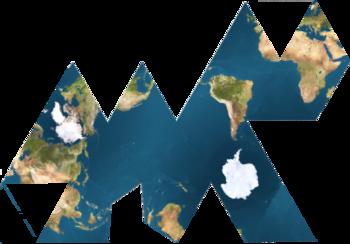 Le grand océan planétaire, mis en valeur par ce mode de cartographie