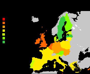 Part en énergies renouvelables dans l'Union Européenne, 2004source: (en)BMU, le Ministère Allemand pour l'Environnement