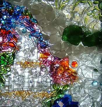 Vitrail à verre libre réalisé par Guy Simard, 2003