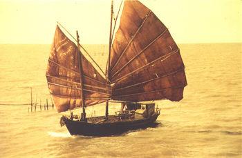 Sampan indonésien au nord de Java
