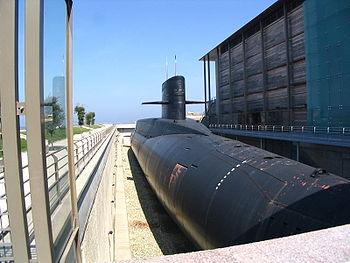 Le Redoutable, sous-marin contruit à partir de 1964 et 1967, à l'Arsenal de Cherbourg