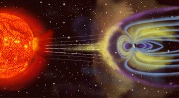 Vue d'artiste de la magnétosphère terrestre.
