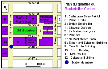 Emplacement du GE Building (en vert) dans le Rockefeller Center (en violet)