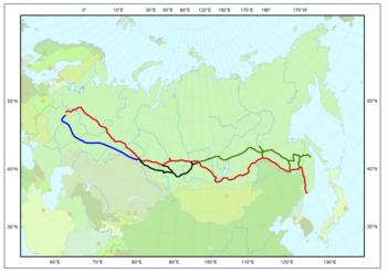 Rouge: Transsibérien; Vert: BAM