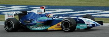 Jacques Villeneuve au volant de la Sauber, lors des qualifications du Grand Prix des États-Unis 2005.