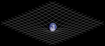 Représentation bidimensionnelle de la distorsion spatio-temporelle. La présence de matière modifie la géométrie de l'espace-temps.