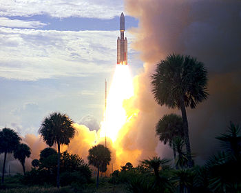 Décollage de Viking 1 à bord d'une fusée Titan-Centaur.