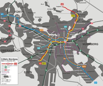 Plan du réseau de métro Nuremberg