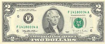 Le portrait de Jefferson apparaît sur les billets de 2 dollars (1953)