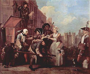 La chaise à porteurs, véhicule à traction humaine dénué de roues - représentation satirique sous forme de peinture rococo, de William Hogarth. Angleterre, années 1750