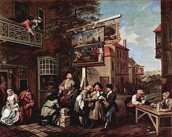 Satire électorale: la propagande politique - peinture de style rococo, de William Hogarth. Angleterre, années 1750