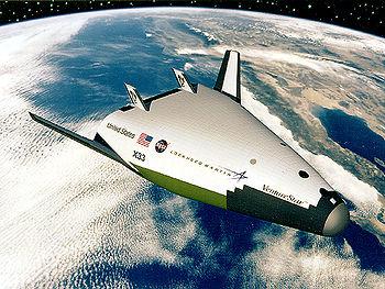 Dessin d'artiste du Lockheed Martin X-33Venture Star.