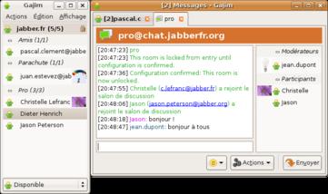 Le client Jabber libre Gajim